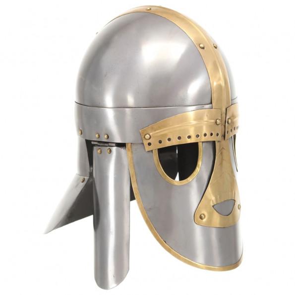Middelalderlig hjelm til rollespil antik stål sølvfarvet