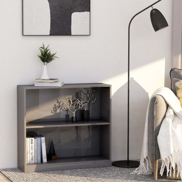 Bogreol 80 x 24 x 75 cm spånplade grå højglans