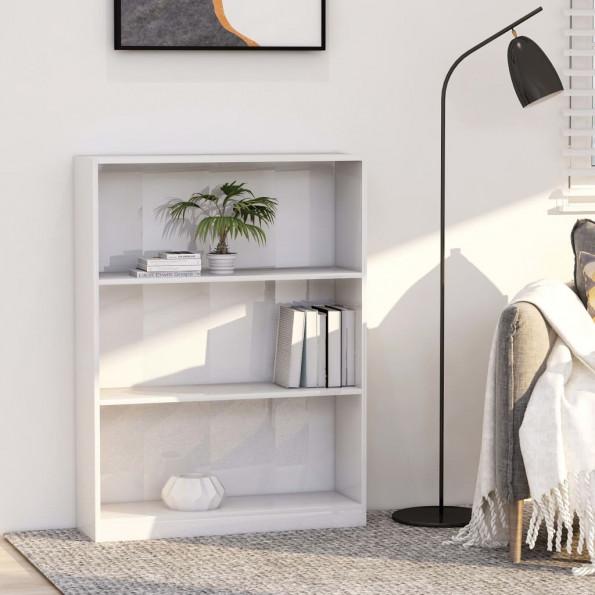 Bogreol 80 x 24 x 108 cm spånplade hvid højglans