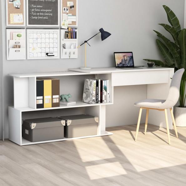 Hjørneskrivebord 200 x 50 x 76 cm spånplade hvid
