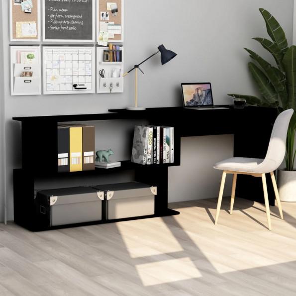 Hjørneskrivebord 200 x 50 x 76 cm spånplade sort