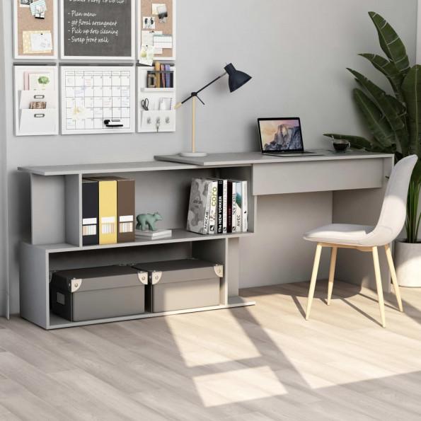 Hjørneskrivebord 200 x 50 x 76 cm spånplade grå