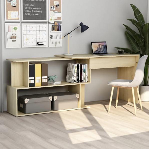 Hjørneskrivebord 200 x 50 x 76 cm spånplade sonoma-eg