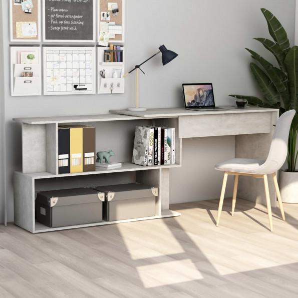 Hjørneskrivebord 200 x 50 x 76 cm spånplade betongrå