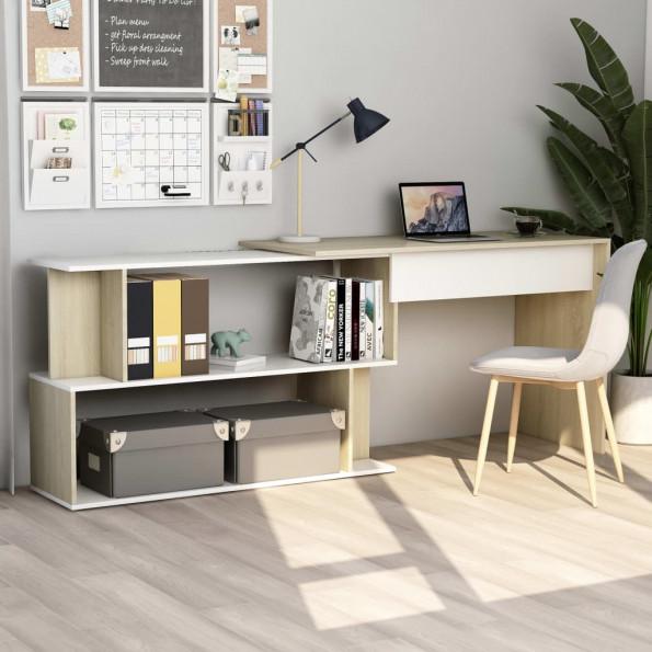 Hjørneskrivebord 200 x 50 x 76 cm spånplade hvid sonoma-eg