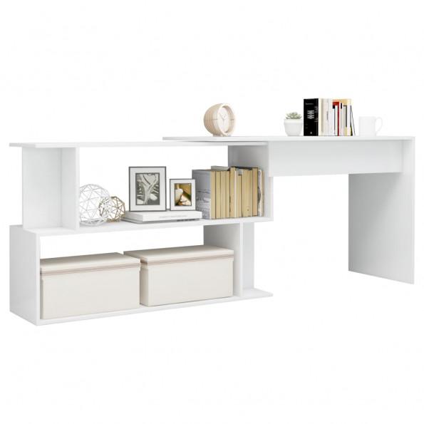 Hjørneskrivebord 200 x 50 x 76 cm spånplade hvid højglans