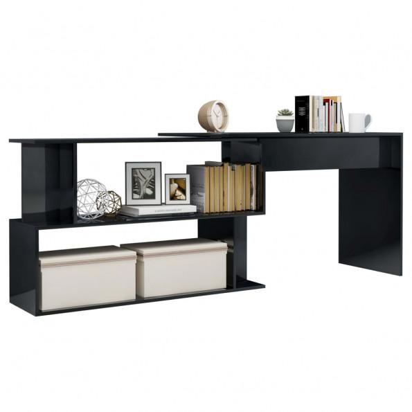 Hjørneskrivebord 200 x 50 x 76 cm spånplade sort højglans