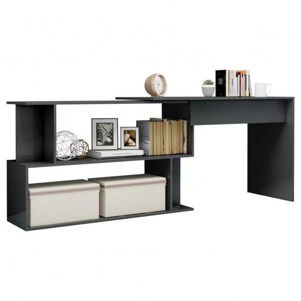 Hjørneskrivebord 200x50x76 cm spånplade grå højglans