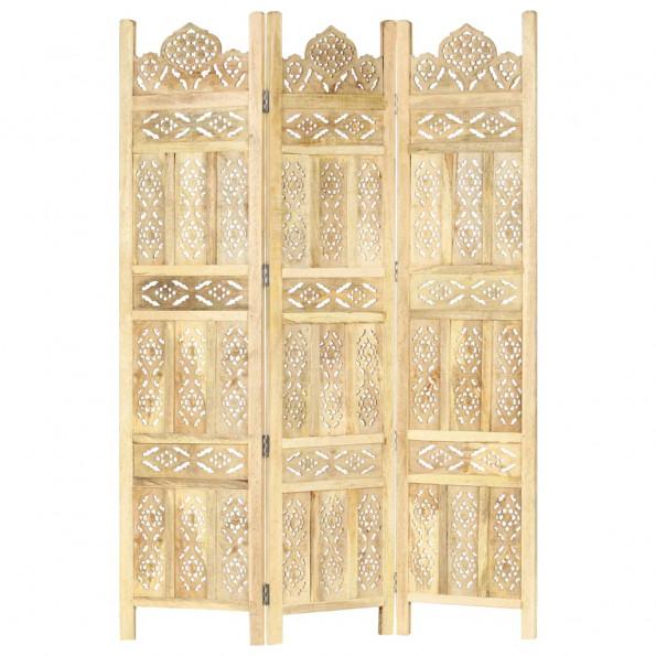 3-panels rumdeler håndskåret 120 x 165 cm massivt mangotræ