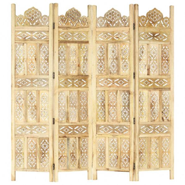 4-panels rumdeler håndskåret 160 x 165 cm massivt mangotræ