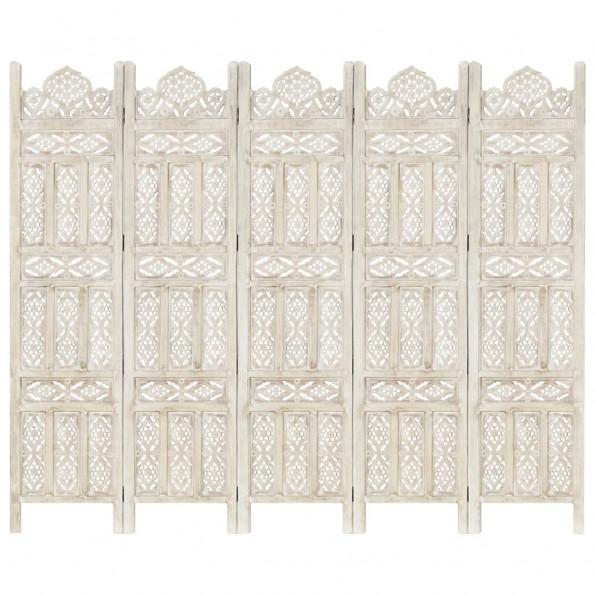 5-panels rumdeler håndskåret 200 x 165 cm massivt mangotræ hvid