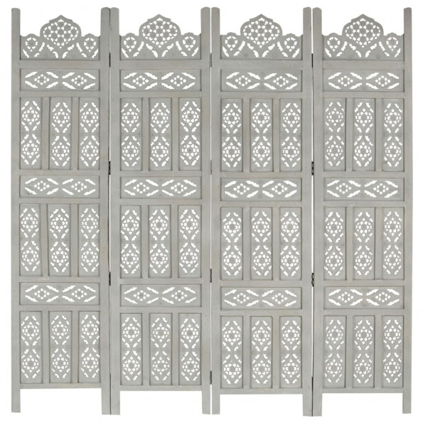 4-panels rumdeler håndskåret 160x165 cm massivt mangotræ grå