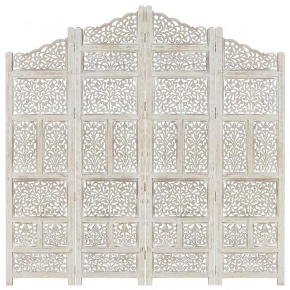 4-panels rumdeler håndskåret 160 x 165 cm massivt mangotræ hvid