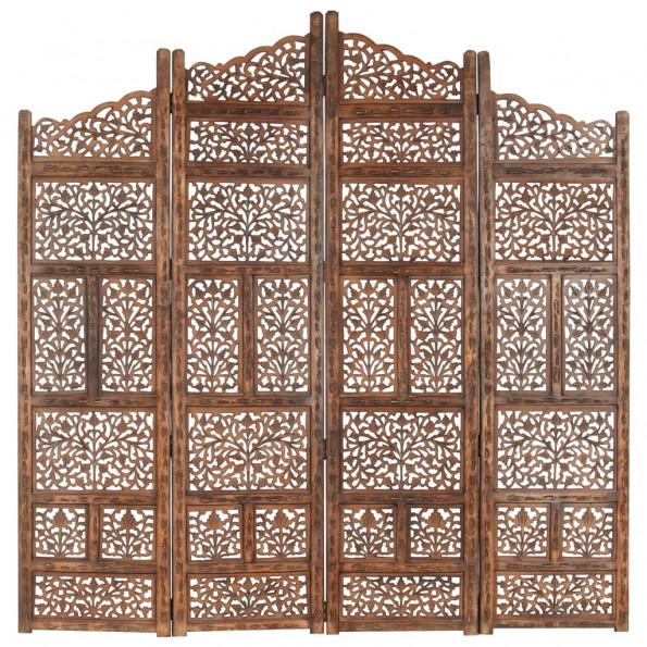 4-panels rumdeler håndskåret 160 x 165 cm massivt mangotræ brun