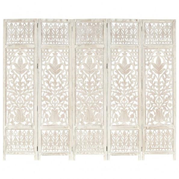 5-panels rumdeler håndskåret 200x165 cm massivt mangotræ hvid