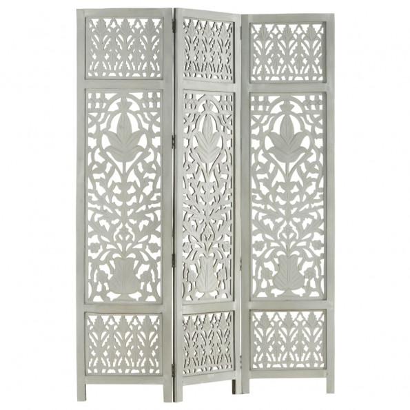3-panels rumdeler håndskåret 120 x 165 cm massivt mangotræ grå