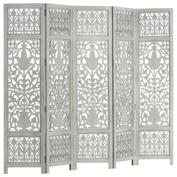 5-panels rumdeler håndskåret 200 x 165 cm massivt mangotræ grå