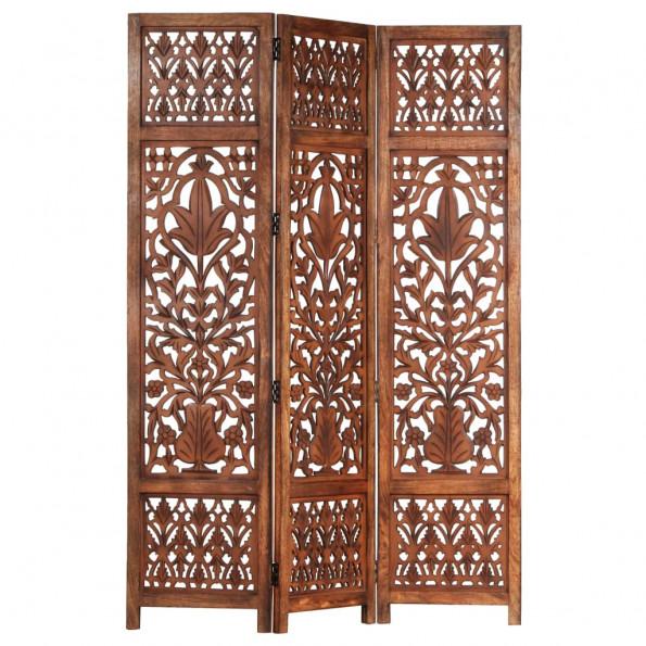 3-panels rumdeler håndskåret 120 x 165 cm massivt mangotræ brun