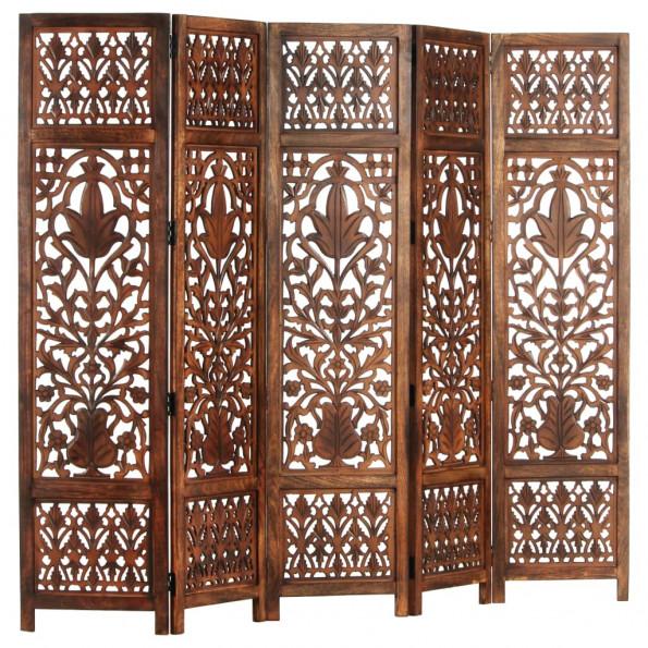 5-panels rumdeler håndskåret 200 x 165 cm massivt mangotræ brun