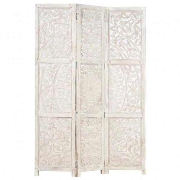 3-panels rumdeler håndskåret 120 x 165 cm massivt mangotræ hvid
