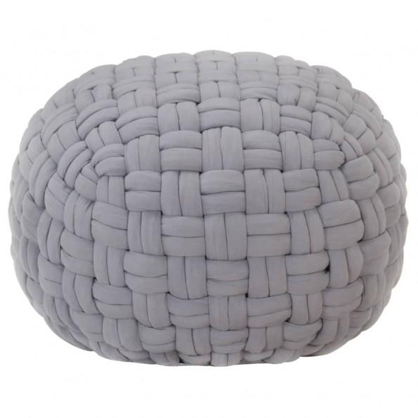 Puf 50x35 cm flettet design bomuld grå