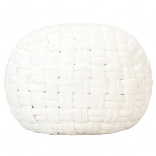 Puf 50x35 cm flettet design bomuld hvid