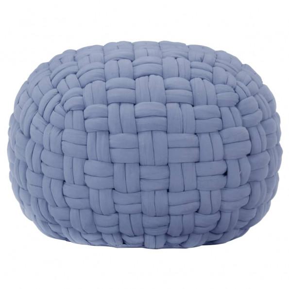Puf 50x35 cm flettet design bomuld blå