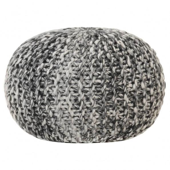 Håndstrikket puf 50x35 cm uld-look stof mørkegrå
