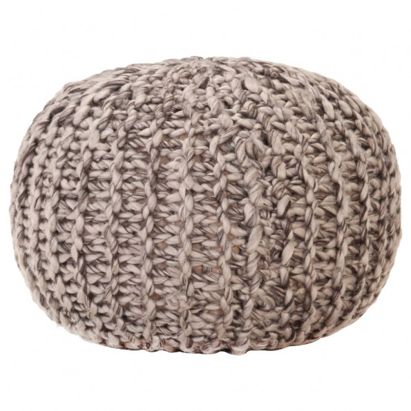 Håndstrikket puf 50x35 cm uld-look stof lysegrå