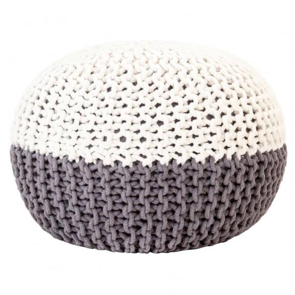 Håndstrikket puf 50x35 cm bomuld antracitgrå og hvid