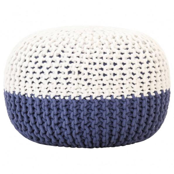 Håndstrikket puf 50x35 cm bomuld blå og hvid