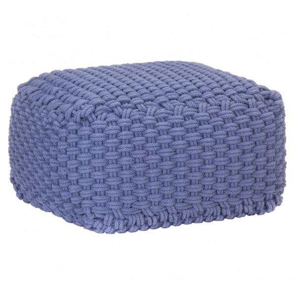 Håndstrikket puf 50x50x30 cm bomuld blå