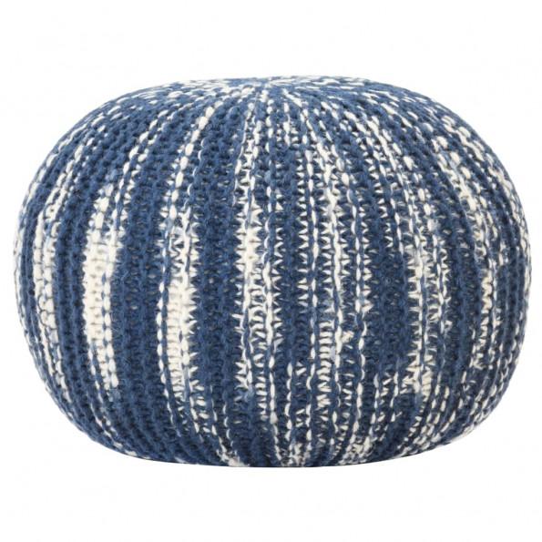 Håndstrikket puf 50x35 cm uld blå og hvid