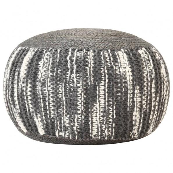 Håndstrikket puf 50x35 cm uld mørkegrå og hvid