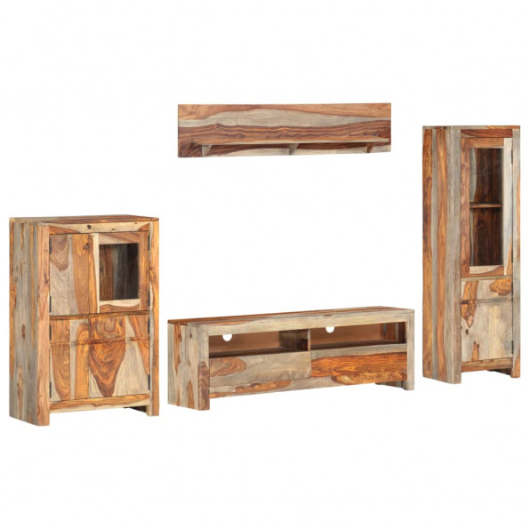 Tv-møbelsæt 4 dele massivt sheeshamtræ