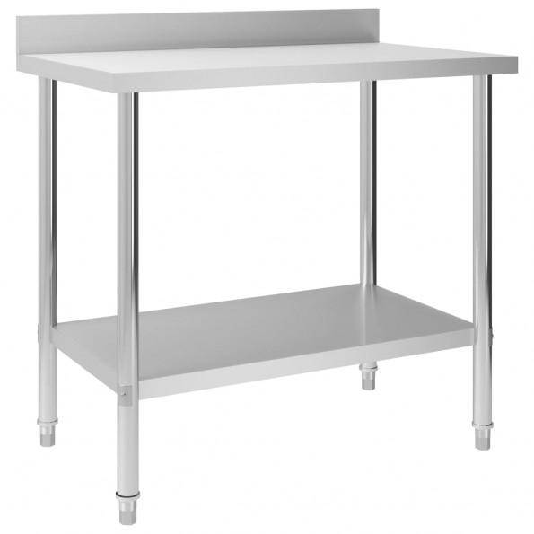 Arbejdsbord til køkken m. stænkplade 100x60x93 cm rustfrit stål