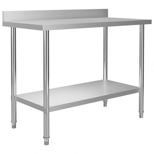 Arbejdsbord til køkken m. stænkplade 120x60x93 cm rustfrit stål