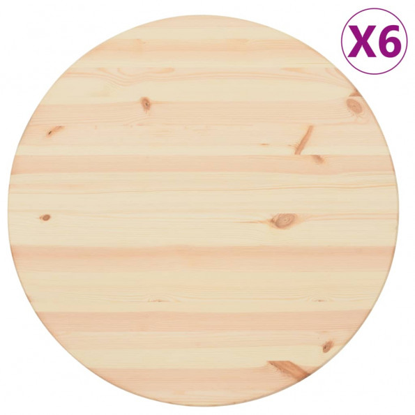 Bordplader 6 stk. 25 mm 60 cm rund naturligt fyrretræ
