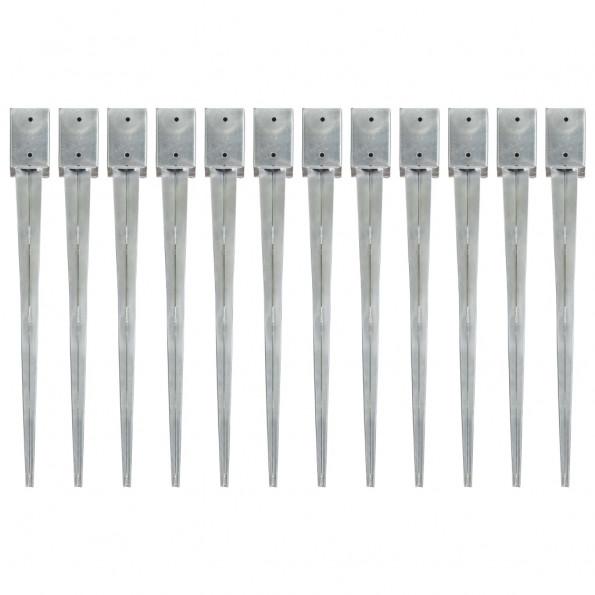Jordpløkker 12 stk. 9 x 9 x 90 cm galvaniseret stål sølvfarvet