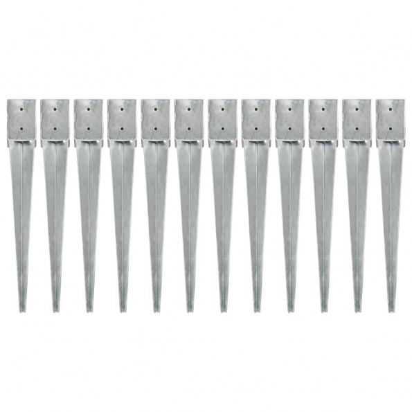 Jordpløkker 12 stk. 10 x 10 x 76 cm galvaniseret stål sølvfarvet