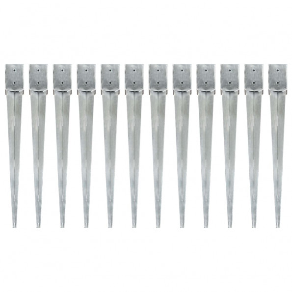 Jordpløkker 12 stk. 10 x 10 x 91 cm galvaniseret stål sølvfarvet