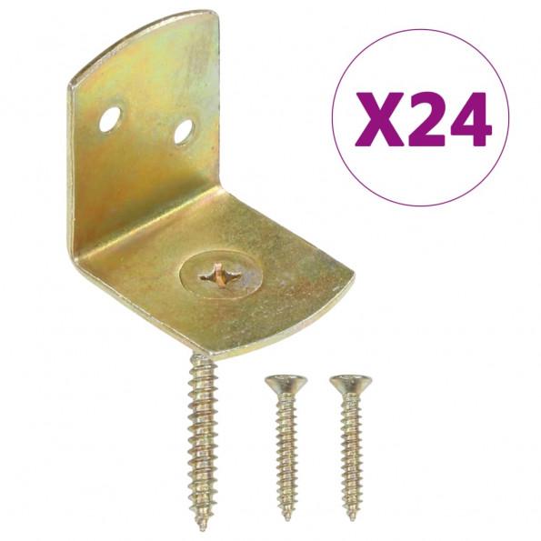 Beslag til hegnspanel 24 stk. L-formet galvaniseret metal