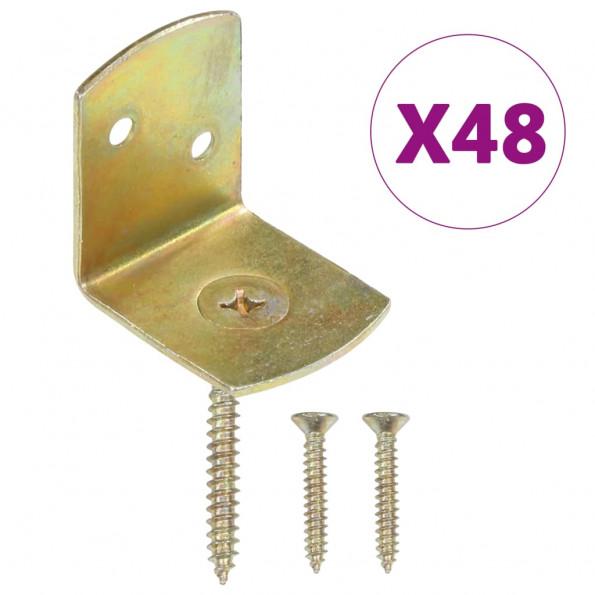 Beslag til hegnspanel 48 stk. L-formet galvaniseret metal