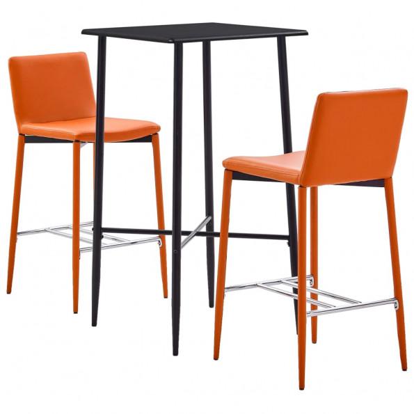 Barsæt 3 dele kunstlæder orange