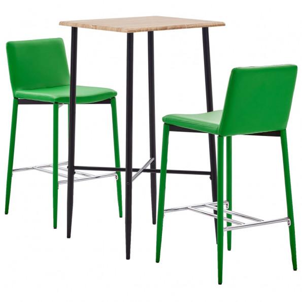 Barsæt 3 dele kunstlæder grøn