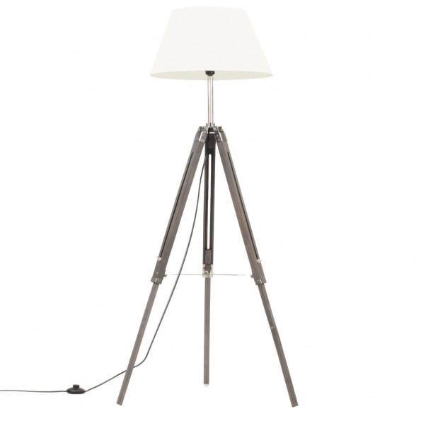 Gulvlampe med trefod 141 cm massivt teaktræ grå og hvid