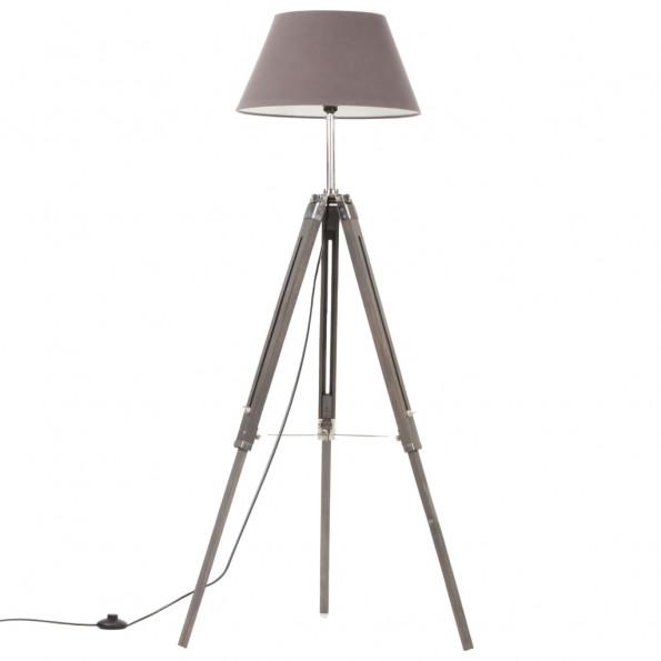 Gulvlampe med trefod 141 cm massivt teaktræ grå
