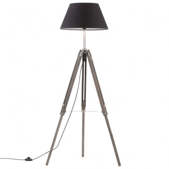 Gulvlampe med trefod 141 cm massivt teaktræ grå og sort