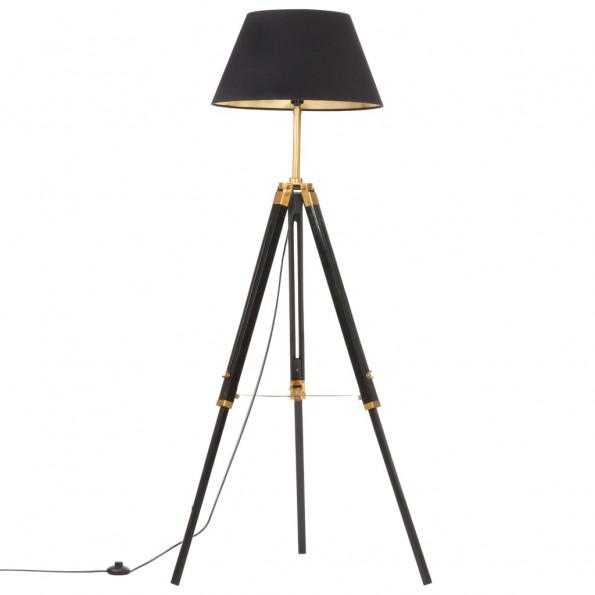 Gulvlampe med trefod 141 cm massivt teaktræ sort og guldfarvet