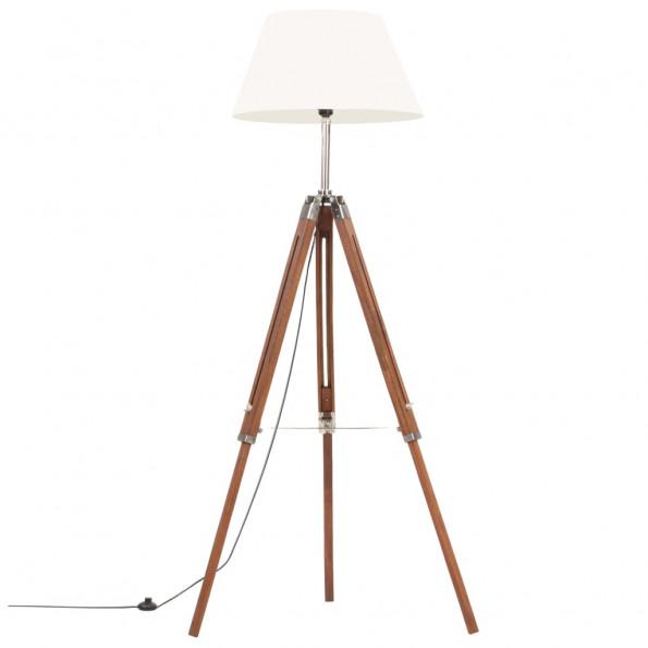 Gulvlampe med trefod 141 cm massivt teaktræ honningbrun og hvid